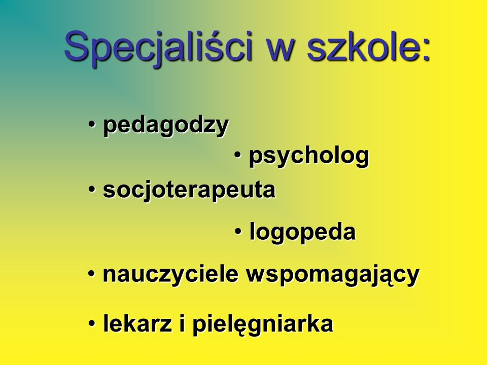 Specjaliści w szkole: p pedagodzy socjoterapeuta socjoterapeuta logopeda logopeda psycholog psycholog nauczyciele wspomagający nauczyciele wspomagając