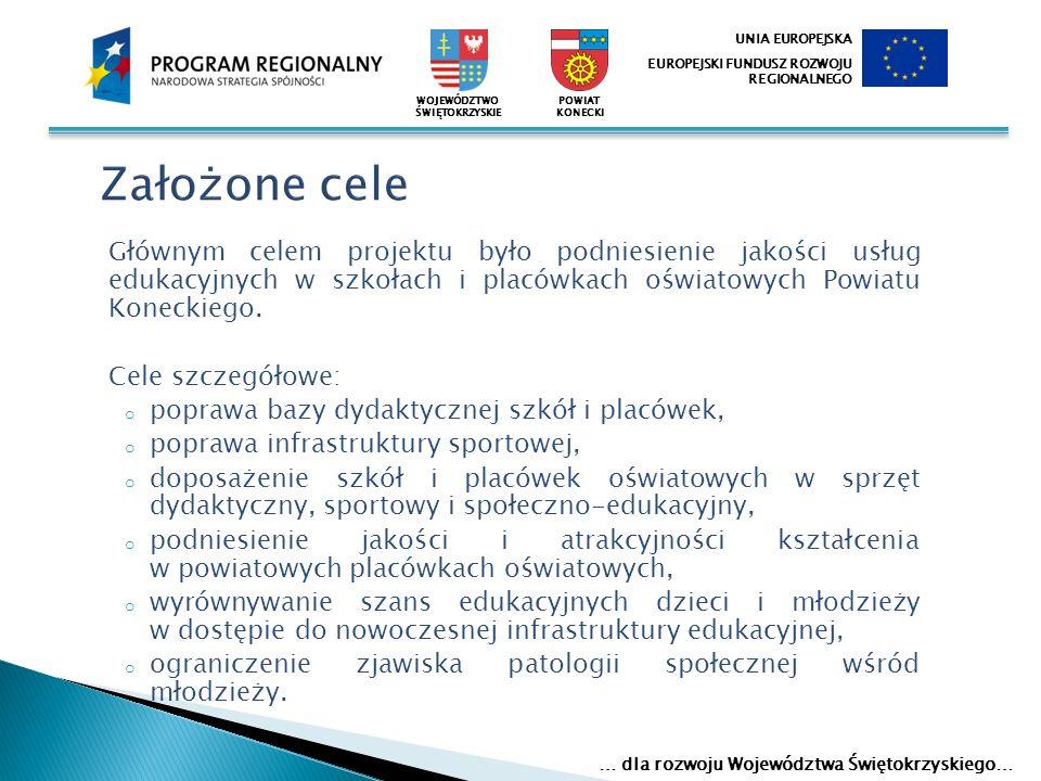 Głównym celem projektu było podniesienie jakości usług edukacyjnych w szkołach i placówkach oświatowych Powiatu Koneckiego. Cele szczegółowe: o popraw