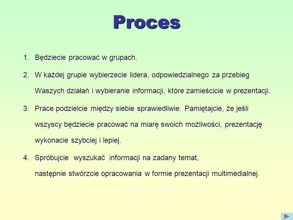 Proces 1.Będziecie pracować w grupach.