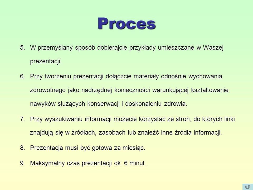Proces 5.W przemyślany sposób dobierajcie przykłady umieszczane w Waszej prezentacji.
