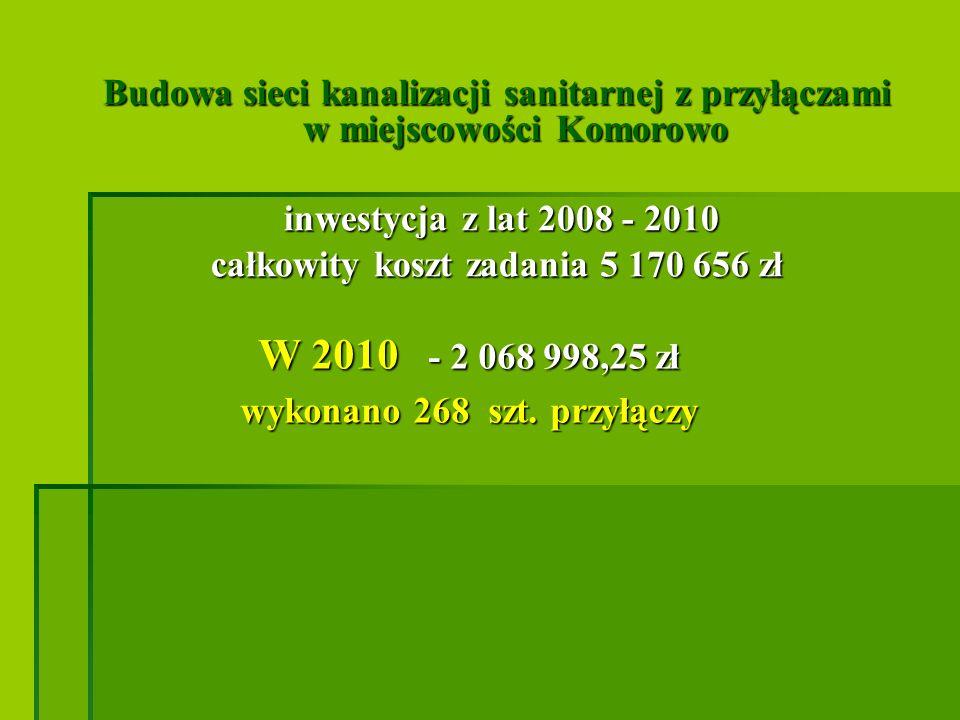 Budowa przydomowych oczyszczalni ścieków na terenie Gminy Ostrów Mazowiecka III etap W 2010 - 2 498 163,72 zł wybudowano 215 sztuk (łącznie w latach 2008-2010 600 sztuk)