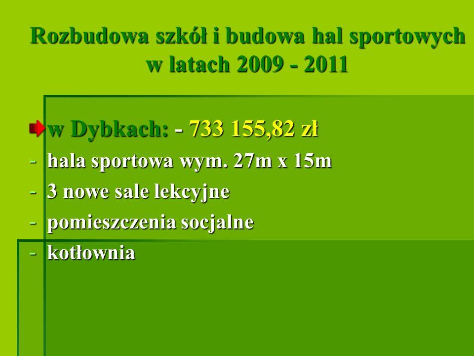 Rozbudowa szkół i budowa hal sportowych w latach 2009 - 2011 w Dybkach: - 733 155,82 zł - hala sportowa wym. 27m x 15m - 3 nowe sale lekcyjne - pomies