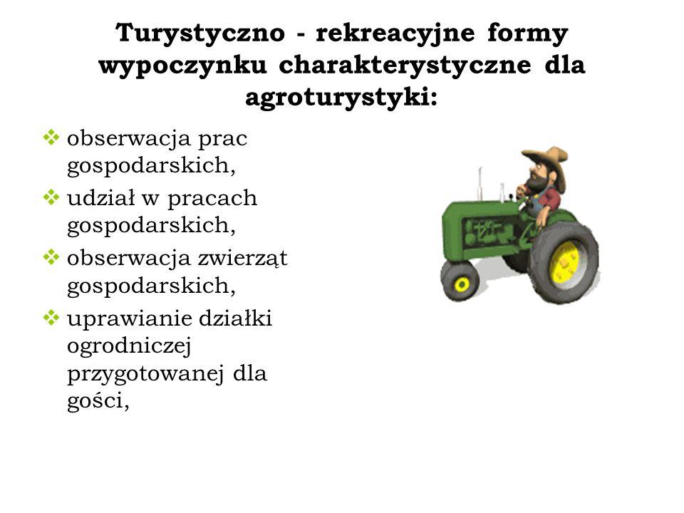 Turystyczno - rekreacyjne formy wypoczynku charakterystyczne dla agroturystyki: obserwacja prac gospodarskich, udział w pracach gospodarskich, obserwa