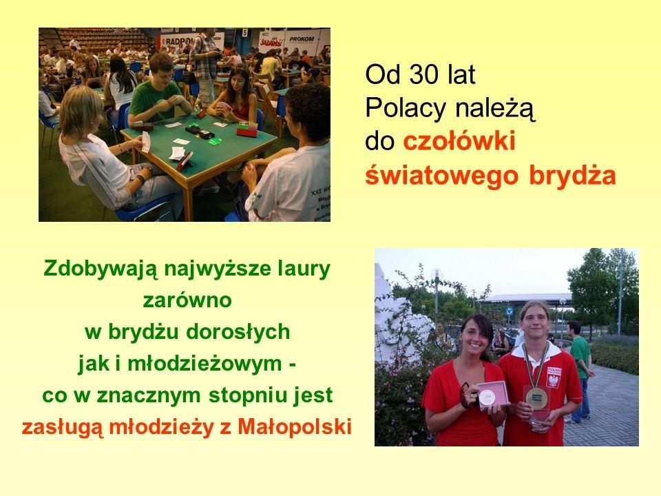 Od 30 lat Polacy należą do czołówki światowego brydża Zdobywają najwyższe laury zarówno w brydżu dorosłych jak i młodzieżowym - co w znacznym stopniu