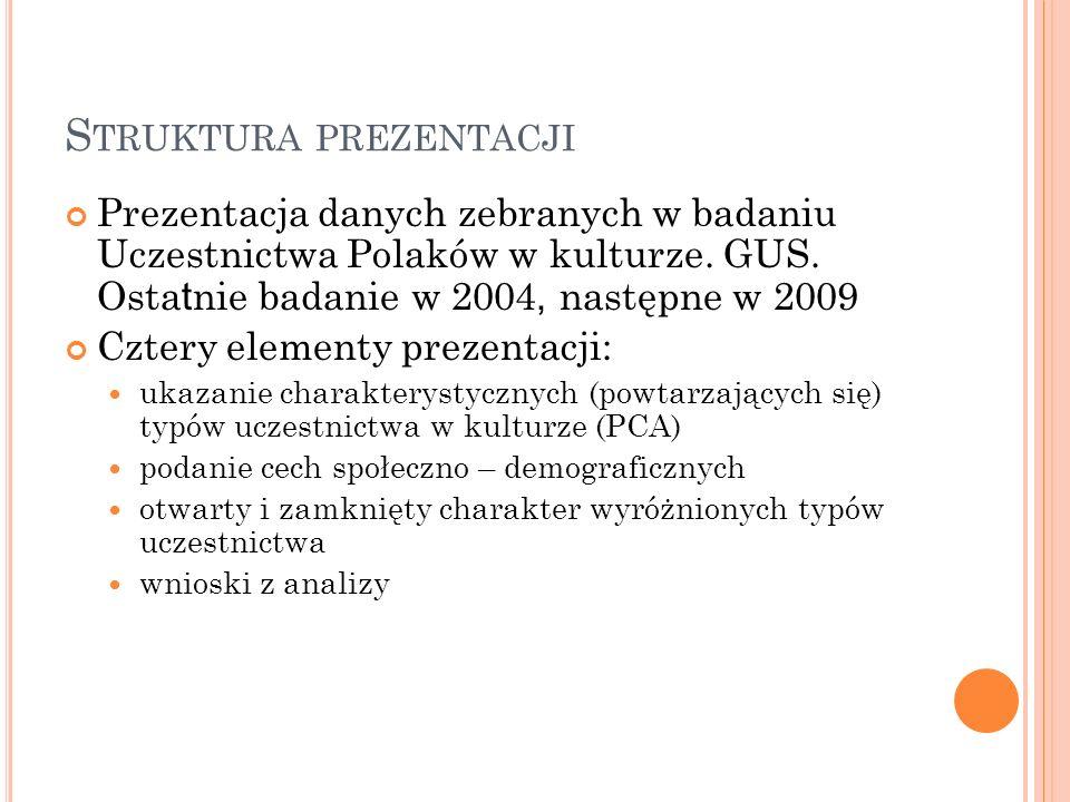 S TRUKTURA PREZENTACJI Prezentacja danych zebranych w badaniu Uczestnictwa Polaków w kulturze. GUS. Osta t nie badanie w 2004, następne w 2009 Cztery