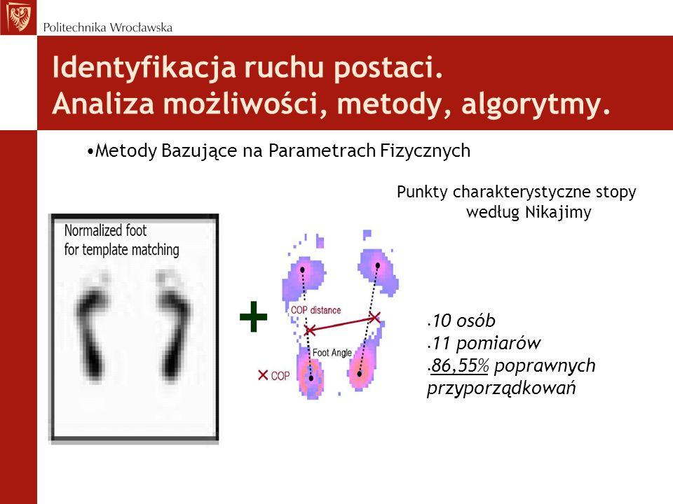 Identyfikacja ruchu postaci. Analiza możliwości, metody, algorytmy. Punkty charakterystyczne stopy według Nikajimy Metody Bazujące na Parametrach Fizy