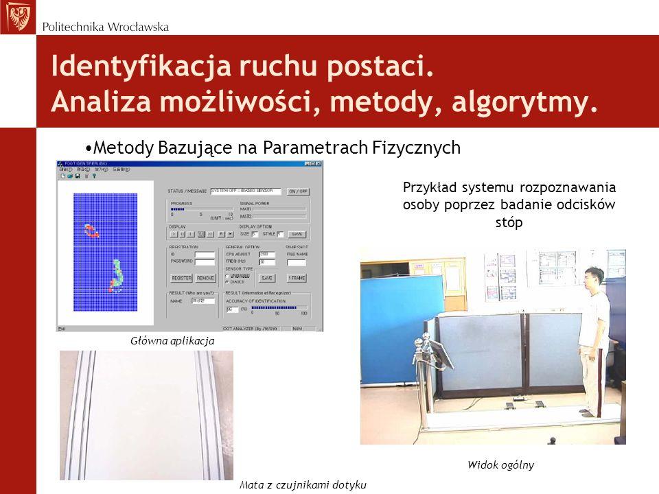 Identyfikacja ruchu postaci. Analiza możliwości, metody, algorytmy. Metody Bazujące na Parametrach Fizycznych Przykład systemu rozpoznawania osoby pop