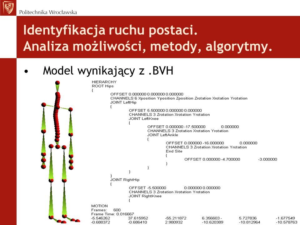 Identyfikacja ruchu postaci. Analiza możliwości, metody, algorytmy. Model wynikający z.BVH