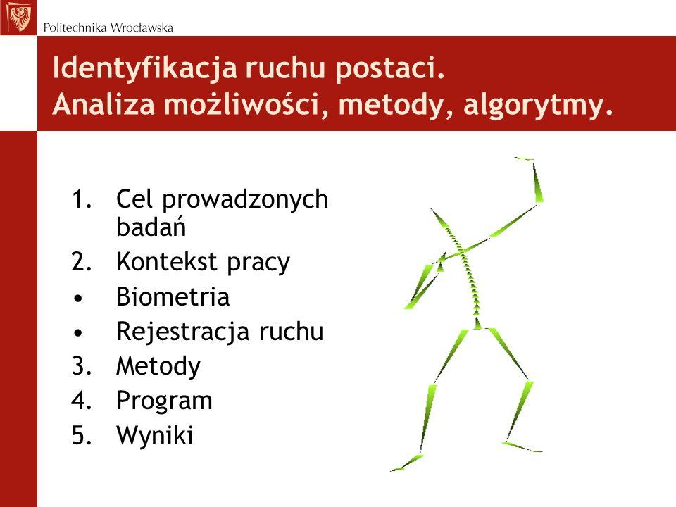 Identyfikacja ruchu postaci. Analiza możliwości, metody, algorytmy. 1.Cel prowadzonych badań 2.Kontekst pracy Biometria Rejestracja ruchu 3.Metody 4.P