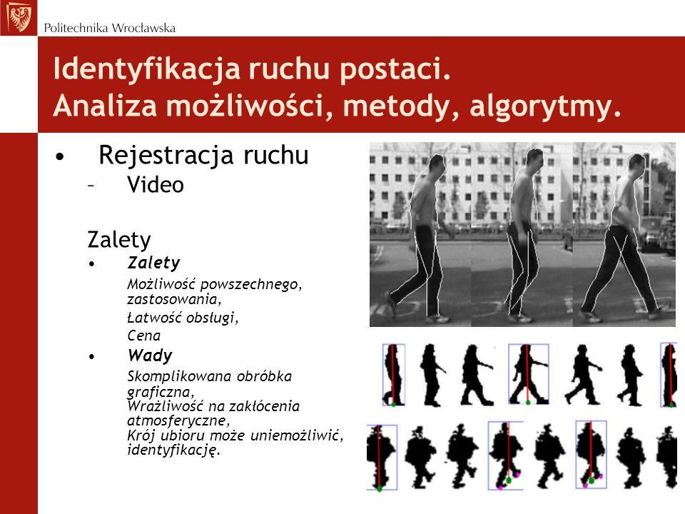 Identyfikacja ruchu postaci. Analiza możliwości, metody, algorytmy. Rejestracja ruchu –Video Zalety Możliwość powszechnego, zastosowania, Łatwość obsł