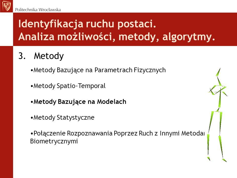 Identyfikacja ruchu postaci. Analiza możliwości, metody, algorytmy. 3.Metody Metody Bazujące na Parametrach Fizycznych Metody Spatio-Temporal Metody B