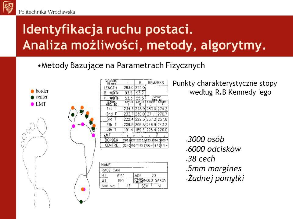 Identyfikacja ruchu postaci. Analiza możliwości, metody, algorytmy. Punkty charakterystyczne stopy według R.B Kennedy 'ego Metody Bazujące na Parametr