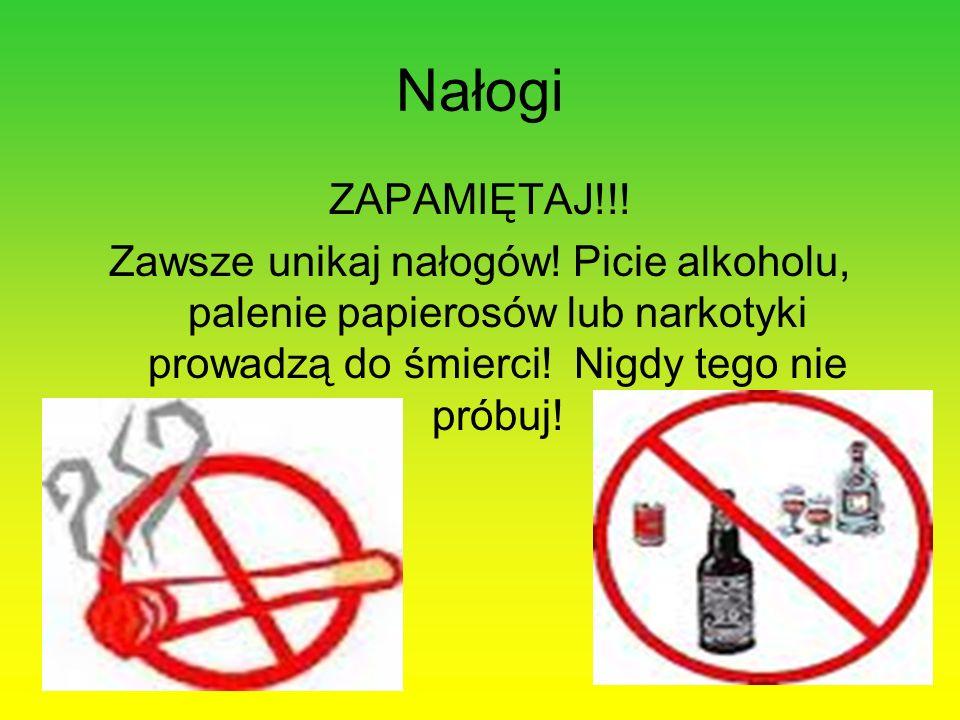 Nałogi ZAPAMIĘTAJ!!! Zawsze unikaj nałogów! Picie alkoholu, palenie papierosów lub narkotyki prowadzą do śmierci! Nigdy tego nie próbuj!