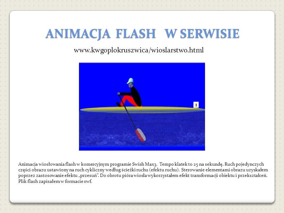 ANIMACJA FLASH W SERWISIE www.kwgoplokruszwica/wioslarstwo.html Animacja wiosłowania flash w komercyjnym programie Swish Max3. Tempo klatek to 25 na s