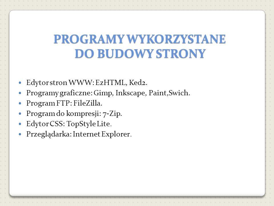 PROGRAMY WYKORZYSTANE DO BUDOWY STRONY Edytor stron WWW: EzHTML, Ked2. Programy graficzne: Gimp, Inkscape, Paint,Swich. Program FTP: FileZilla. Progra