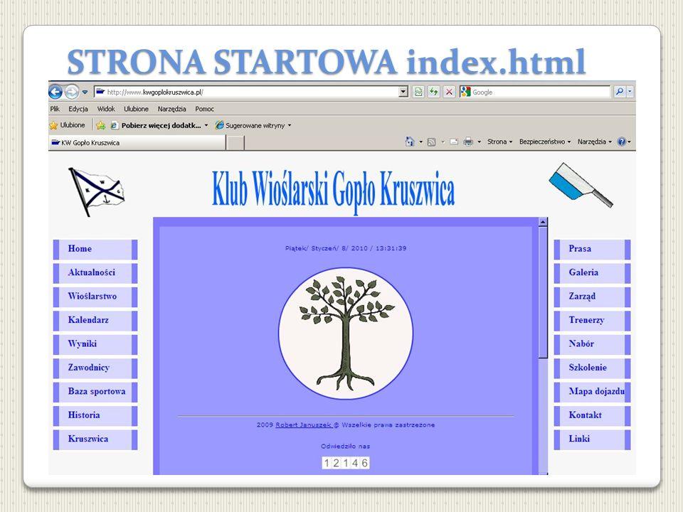 STRONA STARTOWA index.html Strona oparta na ramkach Zastosowanie ikony w adresie przeglądarki KW Gopło Kruszwica