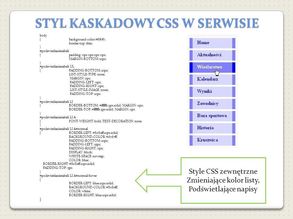 STYL KASKADOWY CSS W SERWISIE body {background-color:#f7f7f7; border-top: thin; } #podswietlanietabeli {padding: 0px 0px 0px 0px; MARGIN-BOTTOM: 10px;