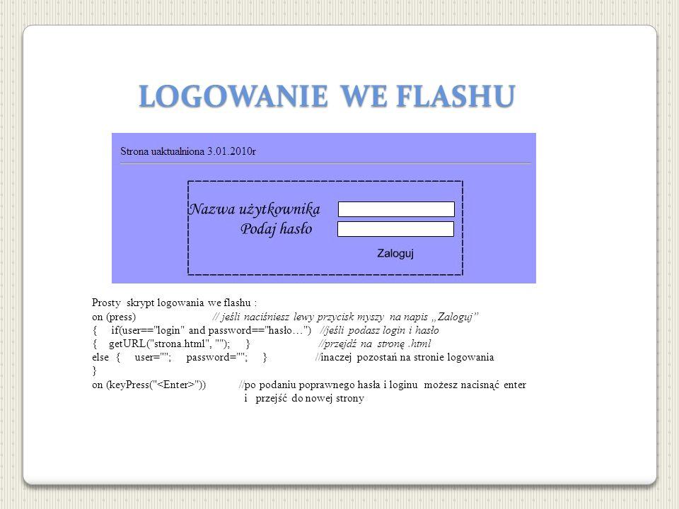 LOGOWANIE WE FLASHU Prosty skrypt logowania we flashu : on (press) // jeśli naciśniesz lewy przycisk myszy na napis Zaloguj { if(user==