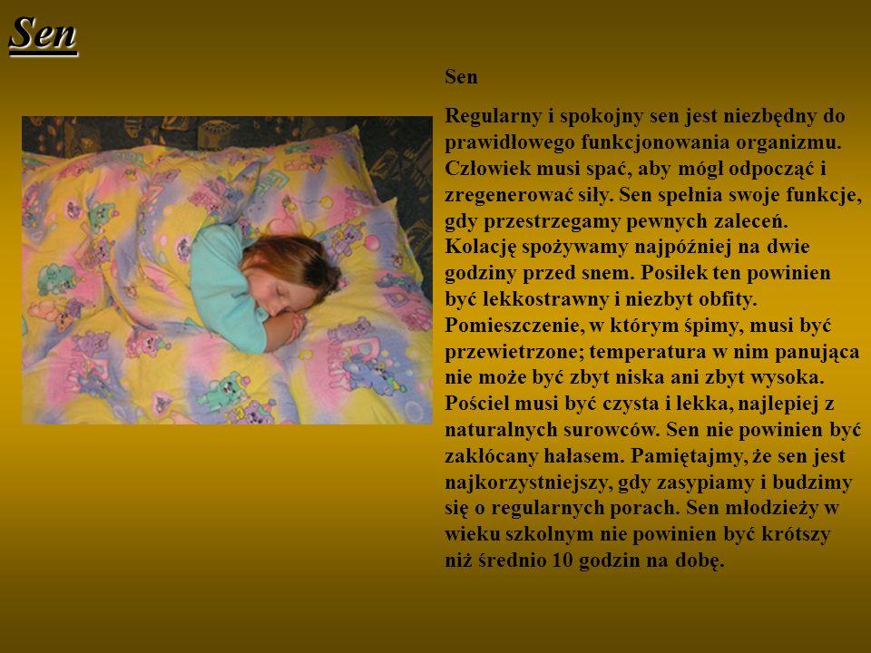 Sen Sen Regularny i spokojny sen jest niezbędny do prawidłowego funkcjonowania organizmu. Człowiek musi spać, aby mógł odpocząć i zregenerować siły. S