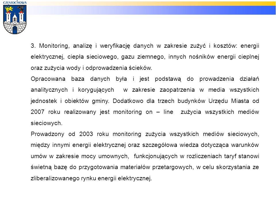 3. Monitoring, analizę i weryfikację danych w zakresie zużyć i kosztów: energii elektrycznej, ciepła sieciowego, gazu ziemnego, innych nośników energi