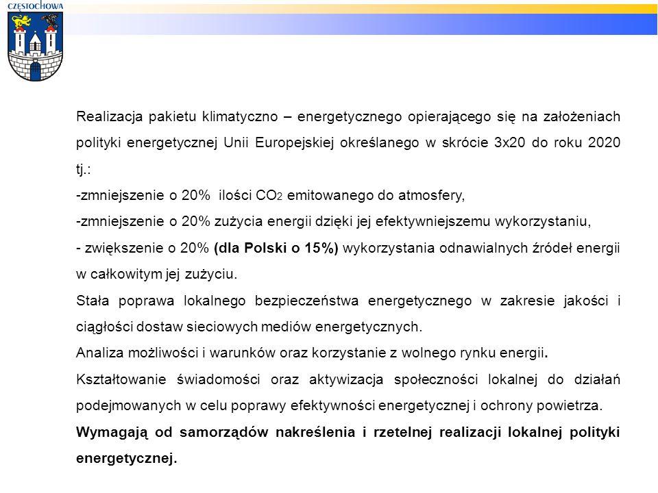 Realizacja pakietu klimatyczno – energetycznego opierającego się na założeniach polityki energetycznej Unii Europejskiej określanego w skrócie 3x20 do roku 2020 tj.: -zmniejszenie o 20% ilości CO 2 emitowanego do atmosfery, -zmniejszenie o 20% zużycia energii dzięki jej efektywniejszemu wykorzystaniu, - zwiększenie o 20% (dla Polski o 15%) wykorzystania odnawialnych źródeł energii w całkowitym jej zużyciu.
