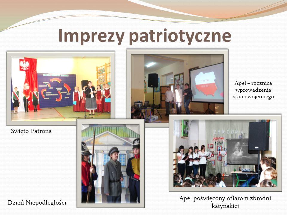 Imprezy patriotyczne Święto Patrona Dzień Niepodległości Apel – rocznica wprowadzenia stanu wojennego Apel poświęcony ofiarom zbrodni katyńskiej