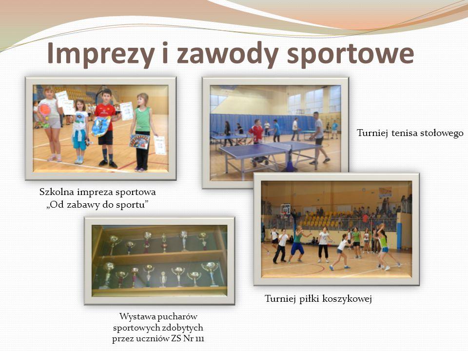Imprezy i zawody sportowe Szkolna impreza sportowa Od zabawy do sportu Turniej piłki koszykowej Wystawa pucharów sportowych zdobytych przez uczniów ZS