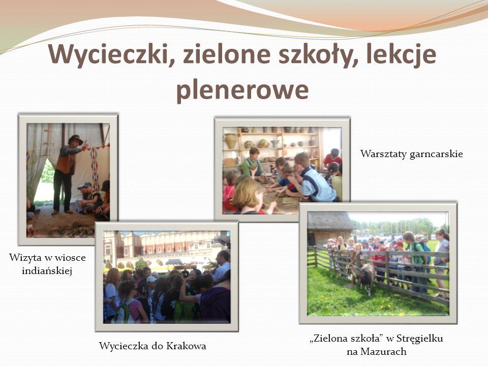 Wycieczki, zielone szkoły, lekcje plenerowe Wycieczka do Krakowa Zielona szkoła w Stręgielku na Mazurach Warsztaty garncarskie Wizyta w wiosce indiańs