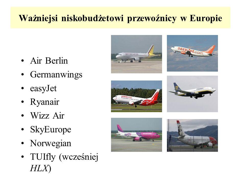 Ważniejsi niskobudżetowi przewoźnicy w Europie Air Berlin Germanwings easyJet Ryanair Wizz Air SkyEurope Norwegian TUIfly (wcześniej HLX)