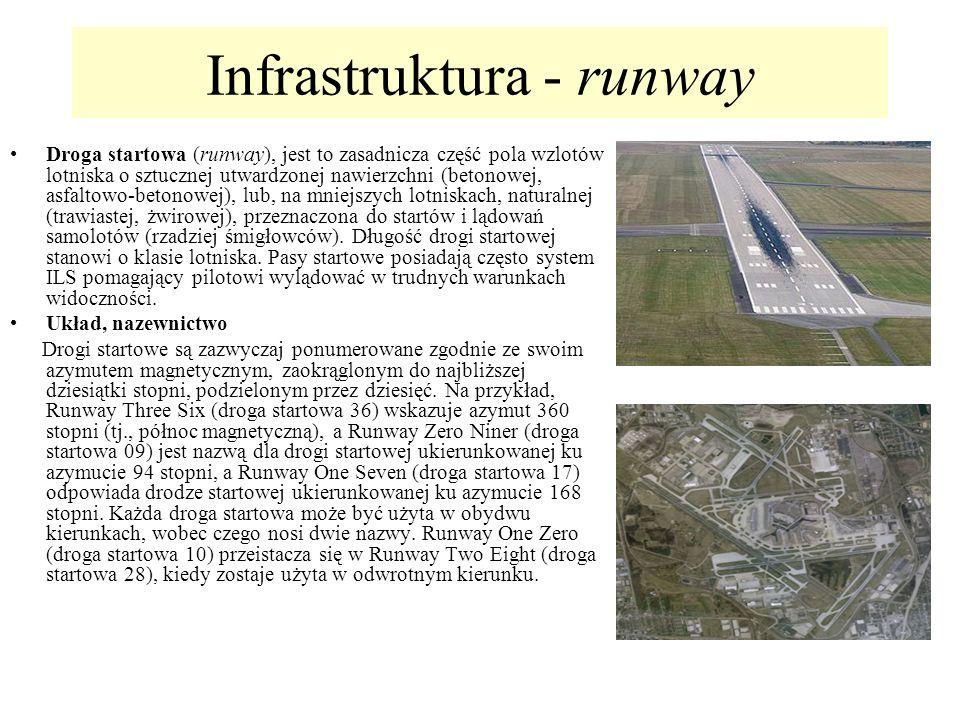 Infrastruktura - runway Droga startowa (runway), jest to zasadnicza część pola wzlotów lotniska o sztucznej utwardzonej nawierzchni (betonowej, asfalt