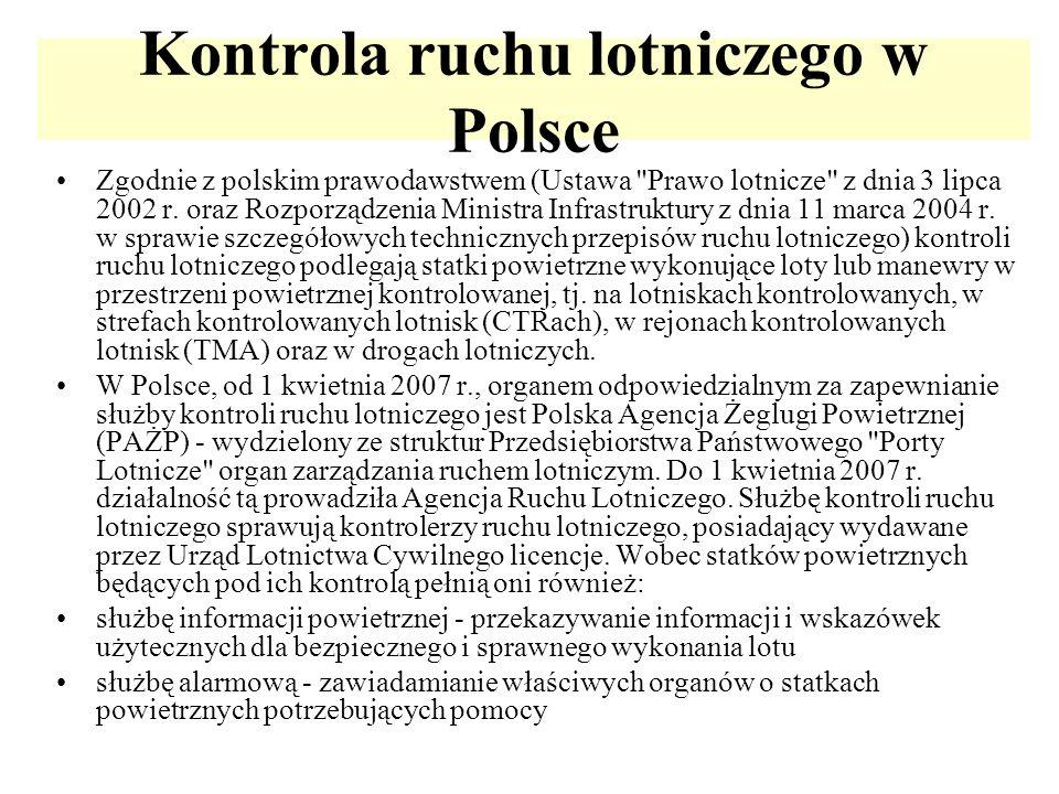 Kontrola ruchu lotniczego w Polsce Zgodnie z polskim prawodawstwem (Ustawa