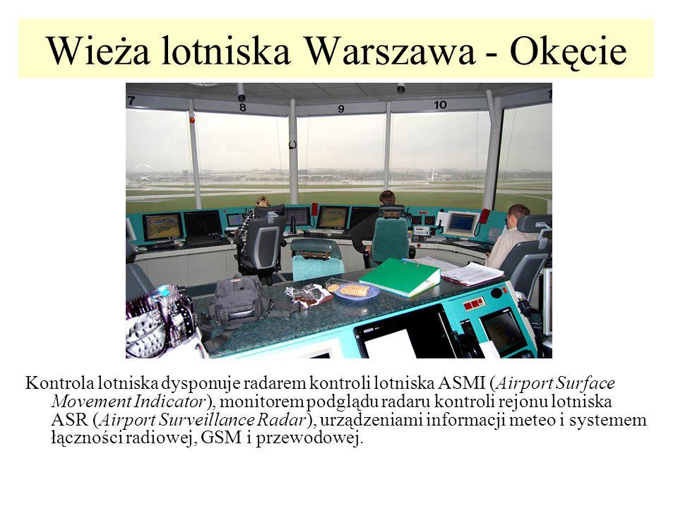 Wieża lotniska Warszawa - Okęcie Kontrola lotniska dysponuje radarem kontroli lotniska ASMI (Airport Surface Movement Indicator), monitorem podglądu r