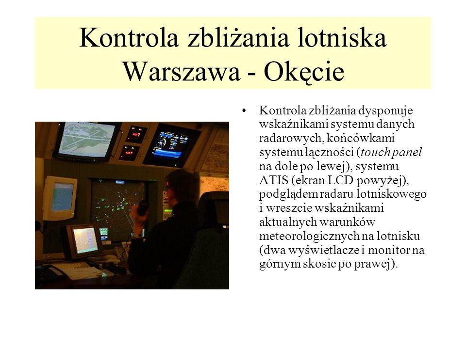 Kontrola zbliżania lotniska Warszawa - Okęcie Kontrola zbliżania dysponuje wskaźnikami systemu danych radarowych, końcówkami systemu łączności (touch