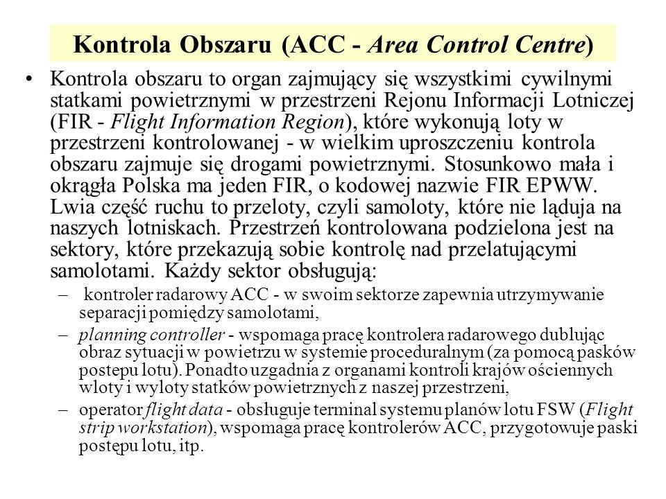 Kontrola Obszaru (ACC - Area Control Centre) Kontrola obszaru to organ zajmujący się wszystkimi cywilnymi statkami powietrznymi w przestrzeni Rejonu I