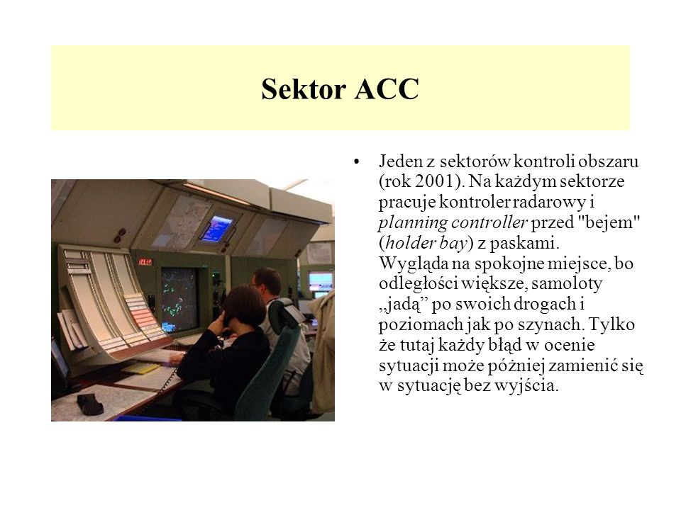Sektor ACC Jeden z sektorów kontroli obszaru (rok 2001). Na każdym sektorze pracuje kontroler radarowy i planning controller przed