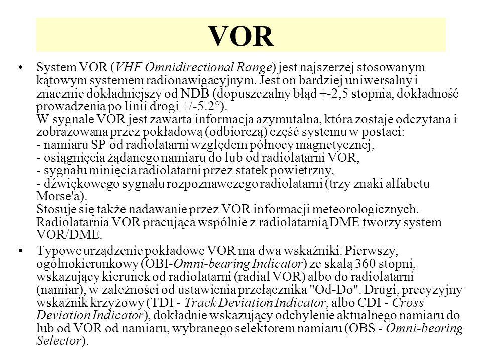 VOR System VOR (VHF Omnidirectional Range) jest najszerzej stosowanym kątowym systemem radionawigacyjnym. Jest on bardziej uniwersalny i znacznie dokł