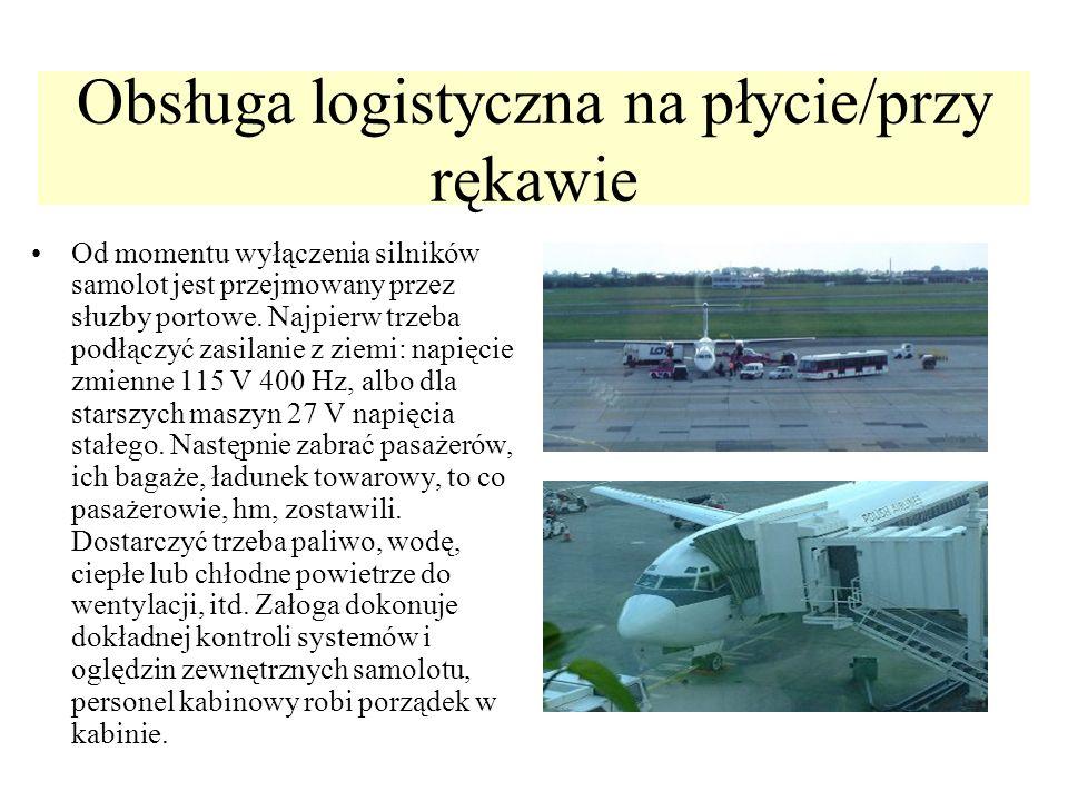 Obsługa logistyczna na płycie/przy rękawie Od momentu wyłączenia silników samolot jest przejmowany przez słuzby portowe. Najpierw trzeba podłączyć zas