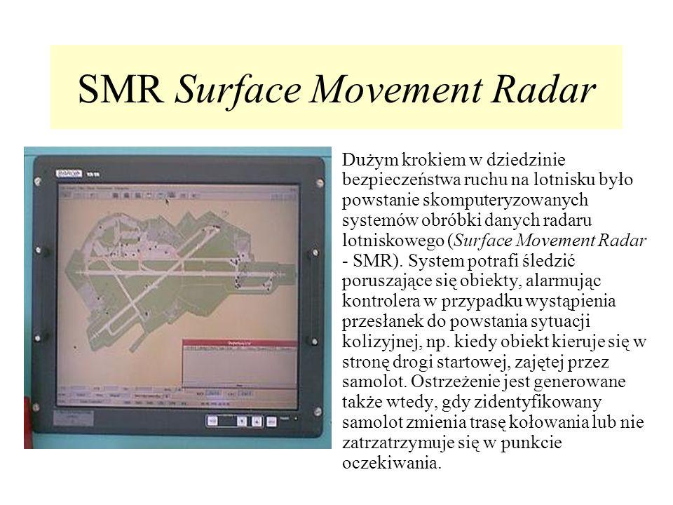 SMR Surface Movement Radar Dużym krokiem w dziedzinie bezpieczeństwa ruchu na lotnisku było powstanie skomputeryzowanych systemów obróbki danych radar