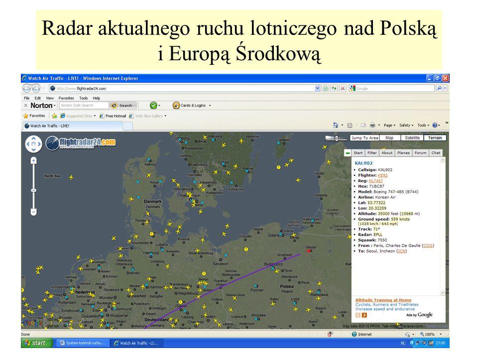 Radar aktualnego ruchu lotniczego nad Polską i Europą Środkową