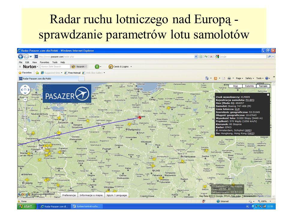 Radar ruchu lotniczego nad Europą - sprawdzanie parametrów lotu samolotów