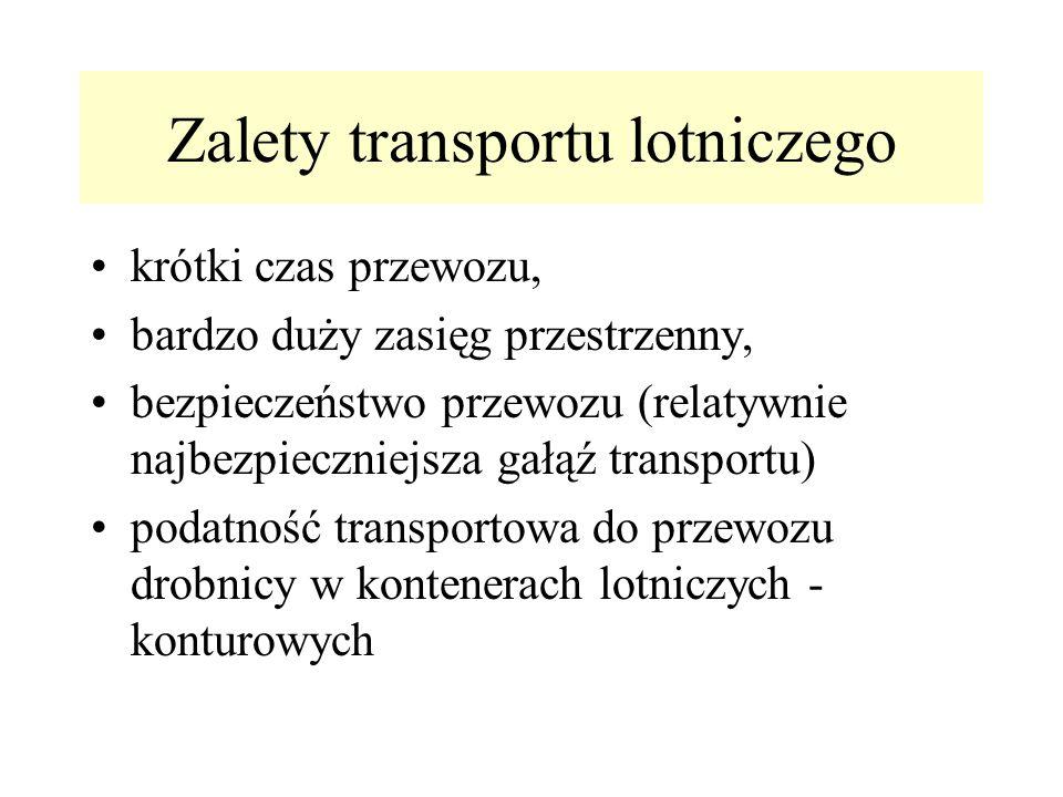 Zalety transportu lotniczego krótki czas przewozu, bardzo duży zasięg przestrzenny, bezpieczeństwo przewozu (relatywnie najbezpieczniejsza gałąź trans