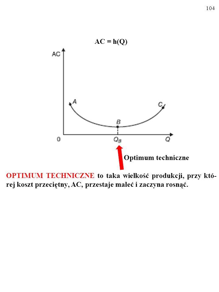 103 AC = h(Q) W miarę zwiększania się produkcji, Q, koszt przeciętny, AC, najpierw maleje, a potem – rośnie. Wykres kosztu przeciętnego, AC, jest U-KS