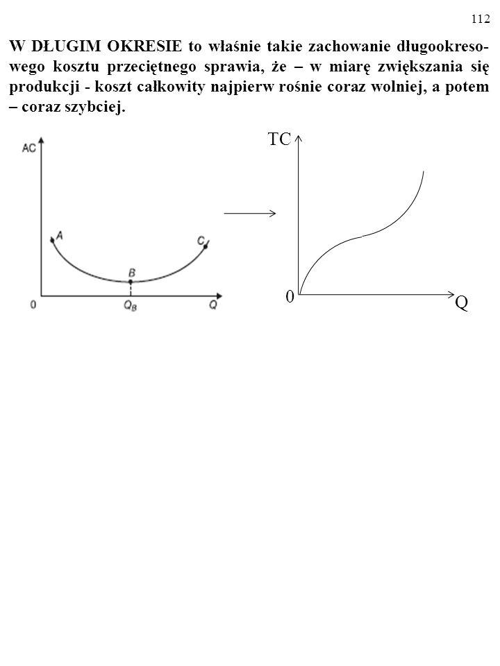 111 AC = h(Q) To właśnie takie zachowanie DŁUGOOKRESOWEGO kosztu przeciętnego sprawia, że – w miarę zwiększania się produkcji - koszt całkowity najpierw rośnie coraz wolniej, a potem – coraz szybciej.