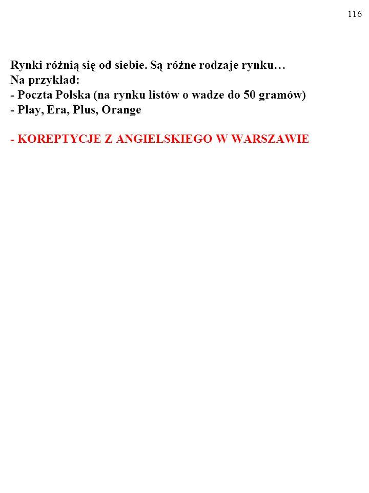 Rynki różnią się od siebie. Są różne rodzaje rynku… Na przykład: - Poczta Polska (na rynku listów o wadze do 50 gramów) - PLAY, ERA, PLUS, ORANGE 115