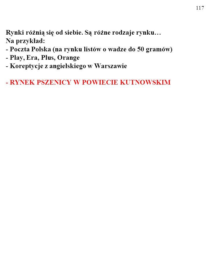 Rynki różnią się od siebie. Są różne rodzaje rynku… Na przykład: - Poczta Polska (na rynku listów o wadze do 50 gramów) - Play, Era, Plus, Orange - KO