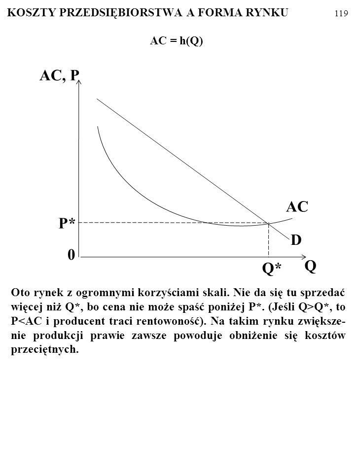 Otóż jedną z najważniejszych przyczyn zróżnicowania rynków są KORZYŚCI SKALI. 118 AC 0 QBQB Q B A C Korzyści skali Niekorzyści skali