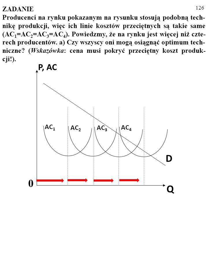 125 AC 1 AC 2 AC 3 AC 4 D Q 0 P, AC ZADANIE Producenci na rynku pokazanym na rysunku stosują podobną tech- nikę produkcji, więc ich linie kosztów przeciętnych są takie same (AC 1 =AC 2 =AC 3 =AC 4 ).