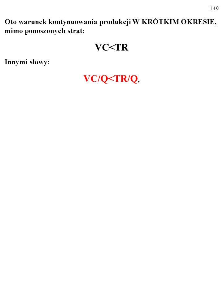 148 Oto warunek kontynuowania produkcji W KRÓTKIM OKRESIE, mimo ponoszonych strat: TC>TR i VC<TR