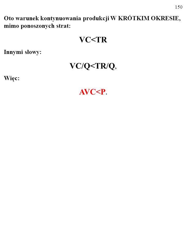 149 Oto warunek kontynuowania produkcji W KRÓTKIM OKRESIE, mimo ponoszonych strat: VC<TR Innymi słowy: VC/Q<TR/Q,
