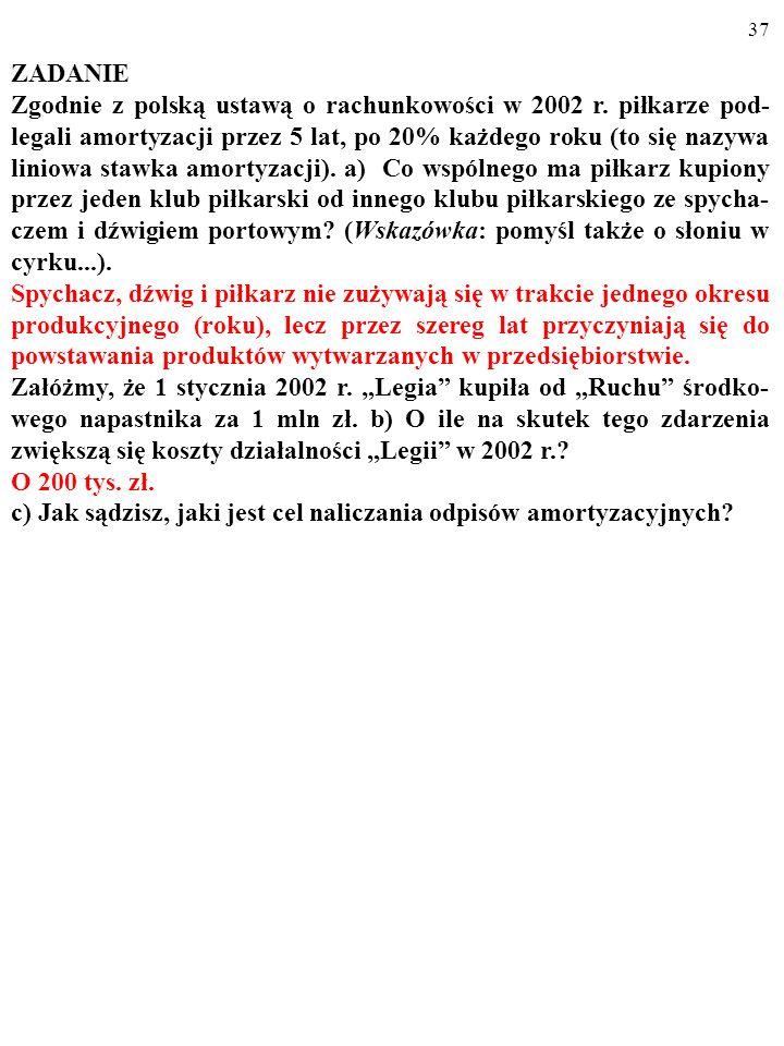 36 ZADANIE Zgodnie z polską ustawą o rachunkowości w 2002 r. piłkarze pod- legali amortyzacji przez 5 lat, po 20% każdego roku (to się nazywa liniowa